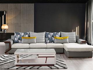 高端大气 时尚现代 L型搭配 座感舒适绒布座布 现代布艺沙发组合(1+3+左贵妃)