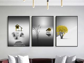北欧装饰画现代简约黑白风景卧室挂画沙发背景墙画卧室三联画壁画