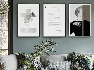 北欧客厅人物装饰画现代黑白抽象艺术女郎墙画酒店民宿装饰画(三联画)