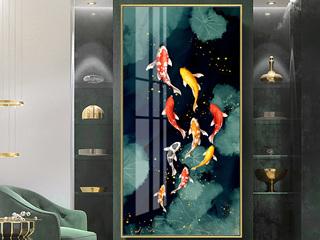 新中式玄关装饰画客厅入户竖版过道挂画走廊楼梯壁画锦鲤