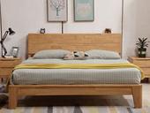 荣之鼎 珍贵进口实木框架  人体工学设计靠背 双人排骨架1.8米原木色大床