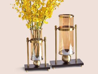 玻璃加金属两件套玻璃金属花瓶(包邮)