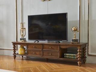 美式风格 金丝楠木色 实木 电视柜
