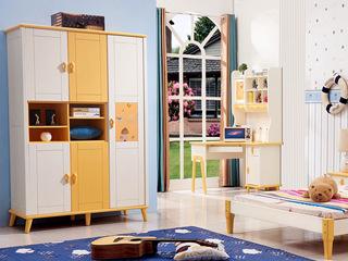 现代风格 实木 黄白色 衣柜