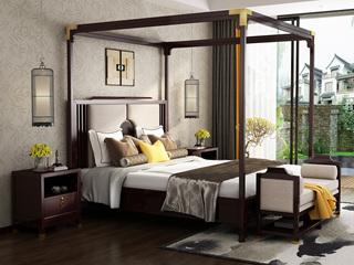 金丝檀木 复古新中式 1.8米新中式风格双人床