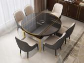 纳德威 可伸缩1.35米餐桌 带电磁炉功能 后现代轻奢系列 钢化玻璃台面 不锈钢拉丝钛金底架