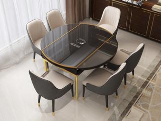 可伸缩1.35米餐桌 带电磁炉功能 后现代轻奢系列 钢化玻璃台面 不锈钢拉丝钛金底架
