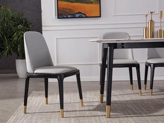 现代轻奢 皮艺餐椅 无扶手 全包裹靠背