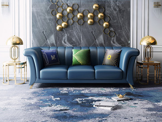 轻奢风格   深蓝 皮艺 北美进口落叶松框架 8818 三人沙发(抱枕随机发货)