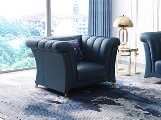 轻奢风格   深蓝 皮艺 北美进口落叶松框架 8818 单人沙发(抱枕随机发货)
