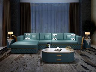 慕梵希 轻奢 (1+3+右贵妃) 蓝色 高端纳帕皮 北美进口落叶松框架 C12沙发组合