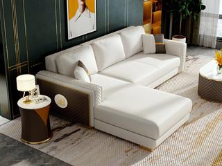 慕梵希 轻奢风格 优质头层黄牛皮  北美进口落叶松框架 D02沙发组合 (3+右贵妃)