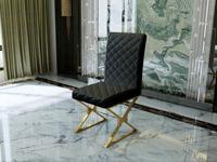 慕梵希 轻奢 黑不锈钢镀金 PU皮C02/X餐椅