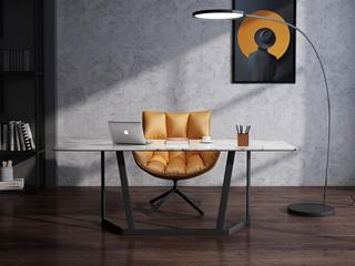 意式极简大理石餐桌 T1006样色1.2米长方形餐桌