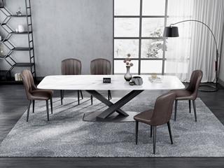意式极简大理石餐桌 T1029白色2.0米长方形餐桌