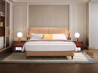 新中式轻奢 优质进口头层黄牛皮 1.8米大床