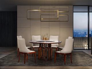 中式休闲系列916圆桌 大理石圆形餐桌 含转盘