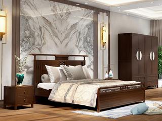 新中式 优质进口小乌金木 FA1901床 1.8*2.0米床