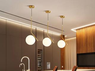 北欧风格 铁艺电镀+玻璃8002-20餐吊灯(单个)(含E27尖泡7W白光)