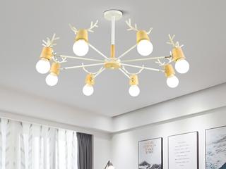 北欧风格 铁艺加木头2248-10吊灯(含E27龙珠泡白光7W)图为8头 实际10头