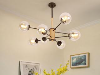 北欧风格 黑色铁架+木头+玻璃罩 2243-6干邑色吊灯(含E27矮泡5W白光)图为8头 实际6头