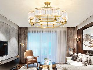 轻奢 铁艺+水晶罩1608-8 金色吊灯(含E27光头强暖光12W)
