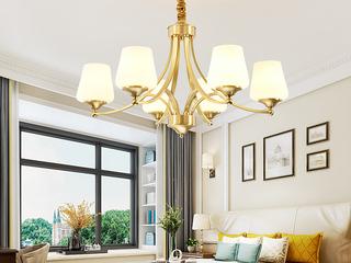 简美 铜本色+玻璃8802-6吊灯(含E27龙珠泡暖光7W)