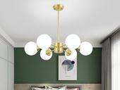 领秀照明 北欧 铜本色+玻璃8803-6吊灯(含E27龙珠泡暖光7W)