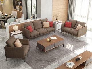 现代简约风格 柔软舒适棉布材质  稳固实木框架 布艺沙发组合(1+2+3)