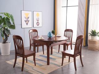 中式风格 泰国进口橡胶木 可折叠1.2米餐桌