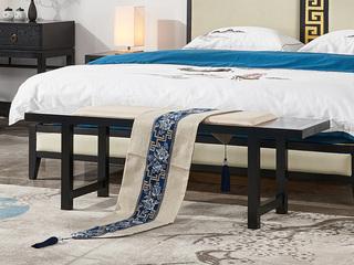 现代新中式 实木 床尾凳
