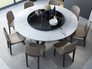 现代简约 大理石 1.35米圆餐桌(含转盘)