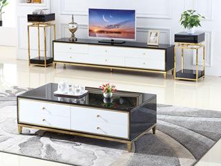 艺家 轻奢风格 钢化玻璃台面 黑白色电视柜