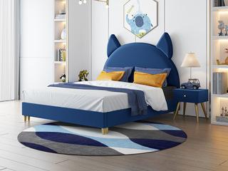 轻奢风格 藏蓝 扪布床头柜