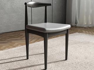 米勒 现代简约 细纹餐椅 黑+灰色餐椅