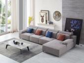 纾康 现代简约 优质麻布布艺沙发 进口落叶松坚固框架沙发组合(1+3+左贵妃)