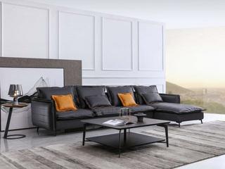 现代简约 羽绒沙发 乳胶镀铬蛇形簧 弹簧绷带沙发组合(1+3+左贵妃)