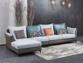 芬洛 现代简约 科技布+棉麻 弹簧底坐 转角沙发(1+3+右贵妃)