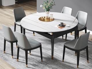 现代简约 劳伦白金 2260岩板 1.35米餐桌