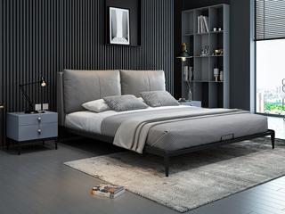 奢工 潮品系列 极简风格 805床 1.5*2.0米 灰色 头层黄牛皮床
