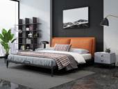 奢工 潮品系列 极简风格 808床 1.8*2.0米 橙色 头层黄牛皮床