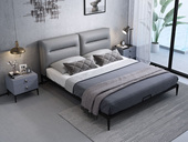 奢工 潮品系列 极简风格 809床 1.8*2.0米 头层黄牛皮床