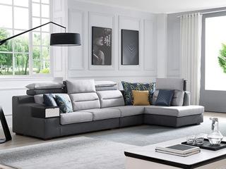 现代简约 进口樟子松坚固框架 科技布 扶手带抽 320 弹簧底坐 沙发组合(1+3+左贵妃)
