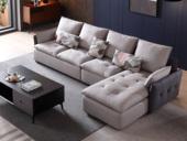 芬洛 現代簡約 進口樟子松堅固框架 科技布 羽絨+乳膠 326 彈簧底坐 沙發組合(1+3+左貴妃)