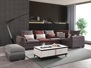 现代简约 进口樟子松坚固框架 科技布 羽绒+乳胶 F32 弹簧底坐 沙发组合(1+1+2+左转角)