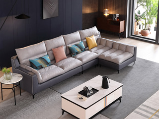 现代简约 进口樟子松坚固框架 科技布 羽绒+乳胶 330 弹簧底坐 沙发组合(2+2+贵妃踏)