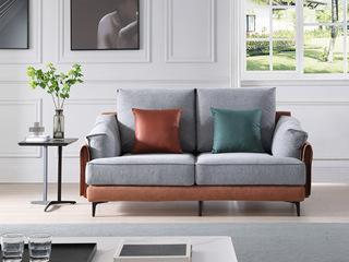 现代简约 进口樟子松坚固框架 科技布+麻布  F21 弹簧底坐 双扶手双人位沙发
