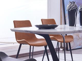 极简风格 橙色 碳素钢+皮艺餐椅