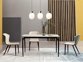 极简风格 苹果绿柜体配面玻 餐桌