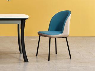 极简风格 蓝+米 超纤皮双色缝接餐椅